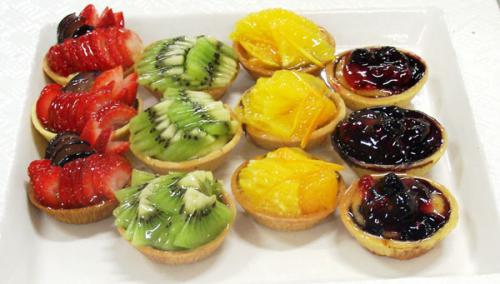 Tarts - fresh fruit strawberry, kiwi, orange, blueberry
