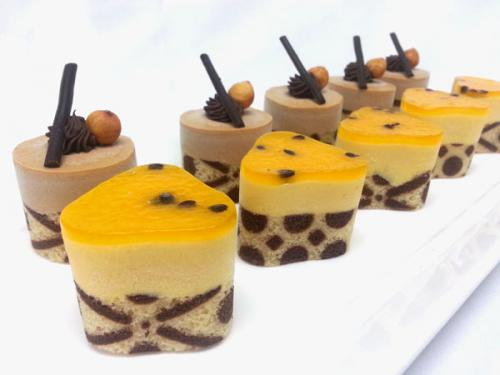 Hazelnut Mousse. Passionfruit  Mousse