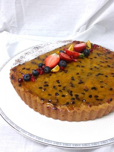 Peach and Passionfruit Flan